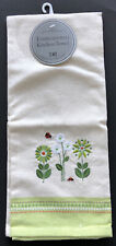 Embroidered Kitchen Towel Made in India Ladybugs Flowers Dii 100% Cotton