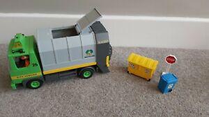 Playmobil Recycling Bin Lorry Garbage Trash Rubbish Truck Plus Two People Vgc