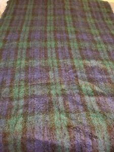 Creagaran Blue Plaid Mohair & Wool Blend Throw Blanket Woven In Scotland
