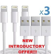 3 x IPHONE LIGHTNING CABLES USB CHARGER - 3M LONG for iPhone 5 5S 6 6S 7 & iPad
