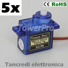 5x Tower Pro SG90 Micro Servo Motore 9g Mini Servocomando Modellismo SG 90 Mini