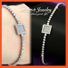 9K WHITE GOLD GF LAB DIAMOND SQUARE TAG CRYSTAL TENNIS BANGLE BRACELET JEWELLERY