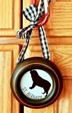 "Saint Bernard Dog Photo Picture Frame Ornament Round Blue Bow 2.5"" Dia"" NWT"