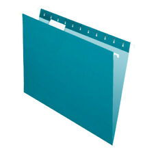 Office Depot Brand 2-Tone Hanging File Folders, 1/5 Cut, Letter Size, Teal, 25Pk