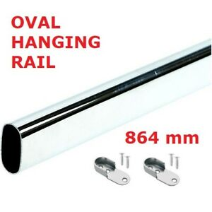 WARDROBE RAIL OVAL, CHROME, HANGING RAIL, FREE END SUPPORTS & SCREW, 864mm