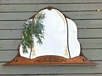 Antique Vtg Carved Flowers Floral Wood Mirror Panels Ornate LARGE Wall Fireplace