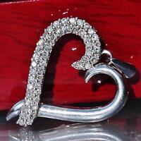 10k white gold pendant 0.75ct natural diamond open heart handmade charm 2.0gr