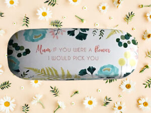 """""""Mum if you were a flower"""" Glasses Case Mothers Day Gift Cleaning Wipe Botanical"""