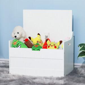 Large Wooden Toy Box Kids White/Blue Storage Unit Child Nursery Bedroom Chest