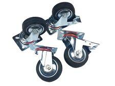 "4x4"" Black Rubber SWIVEL CASTORS (2 with Brakes) Caster Wheel"