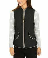 Charter Club Womens Size Medium Double Woven Quilted Vest Black Gray Zipper $69