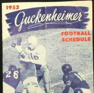 Vintage 50s Guckenheimer Football Schedule NCAA NFL and All American Selections