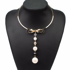 Statement Gold Big Bow Pearl Crystal Choker Collar Necklace By Rocks Boutique