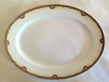 "HUGE Noritake ""Beverly"" Oval Platter 18"" x 14"" Blue Band Pink Roses Gold Rim"