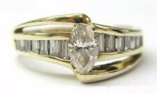 Natural Marquise & Baguette Diamond Engagement Solid Yellow Gold Ring 1.00Ct