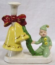 Vintage Christmas Candle Holder Pixie with Wreath and Two Big Yellow Bells 1970s