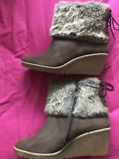 Size 9.5 /44 Women Brown Faux Fur Ankle Boots From La Redoute