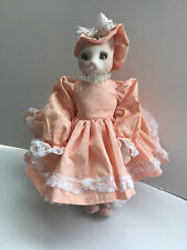 """Vintage Collectors Bunny Rabbit Doll Ooak Handmade 13"""" Tall with Display Stand"""