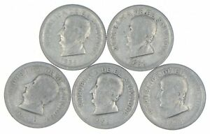 Lot of 5 El Salvador 1953 25 Centavos Silver Coin Lot - Rare one Year Issue *308