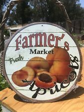 Farmers Market Fresh Apricots Round Sign Vintage Garage Bar Decor Old Rustic
