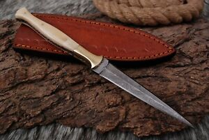 Custom Hand Forged DAMASCUS STEEL BOOT ThRowing DaGGER HUNTING KNIFE Double Edge