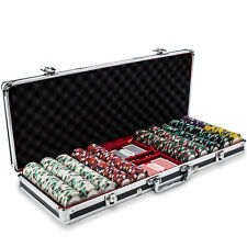 New 500 Monaco Club 13.5g Clay Poker Chips Set Black Aluminum Case - Pick Chips!