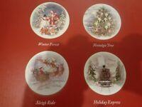 Pottery Barn 4 Nostalgic Santa Winter Forest Christmas Salad Plates NEW IN BOX