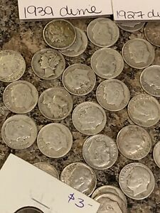 Roll Of Mixed Mercury And Roosevelt Dimes! Roll Of 50 Mixed Silver Dimes! SILVER