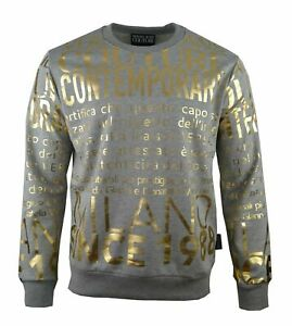VERSACE JEANS COUTURE ALL OVER PRINT GOLD FOIL SWEATSHIRT-GRAY.