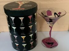 "Lolita Martini Glass ""Shopaholic"" Hand Painted 10 oz. Cocktail Drink NIB"