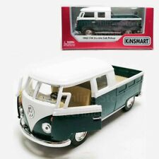 Kinsmart 1:34 Die-cast 1963 Volkswagen Bus Double Cab Pickup Car Green Model Box
