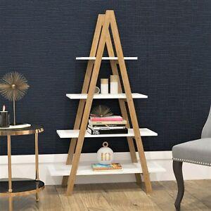 Bamboo Ladder 4 Tier Shelf Unit Bookcase Living Room Storage Shelving Display