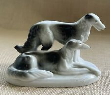 Vtg Borzoi Russian Wolfhound Pair Figure Miniature Porcelain 4�