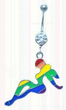 Rainbow Girl Belly Bar Gay Pride Crystal Dangle Party Sexy Navel Body Piercing