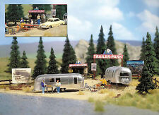 Busch HO Scale Camping Trailer Park w/ 2 Airstream Trailers Model Train Kit 1054