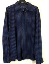 Faconnable Shirt 2XL Navy Blue Striped Button Down Heavy Cotton Blend XXL Mens