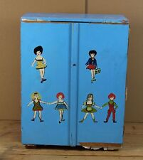 alter Puppenkleider Schrank - Holz - blau bemalt - wohl 1950er/60er Jahre