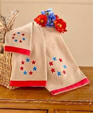3-Pc. Primitive Embellished Bath Towels Set Country Stars Americana Towels Set