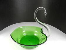 """Art Glass Swan Center Piece Bowl Hand Blown Green Clear 8"""" T"""