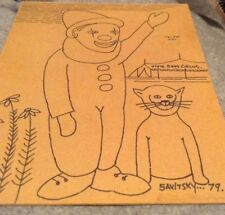 Jack Savitsky Coal Miner Drawing Clown Circus On Fiber Board 1979