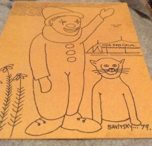 Jack Savitsky Coal Miner Drawing Clown Circus On Fiber Board 1979