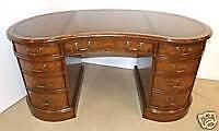 Walnut Burr Kidney Desk Leather WritingTop +Oak Linings