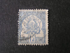 *TUNESIA, SCOTT # 4, 15c. VALUE BLUE ON GRAY 1888-97 COAT OF ARMS ISSUE USED