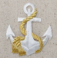 Iron On Embroidered Applique Patch Nautical White Anchor with Gold Rope