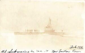 ORIGINAL 1918 rppc U.S. SUBMARINE in ICE NEW LONDON Connecticut