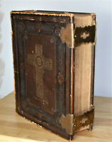 antique c1875 family Catholic Bible Douay Rheims  Brass clasps Front cover off