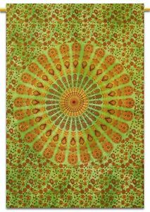 Green Indian MANDALA PEACOCK WING Poster Wall Hanging Cotton Home Decor Throw