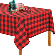 Christmas Plaid Tablecloth 56x120 Inch Black and Red Check Table Cloth Farmhouse