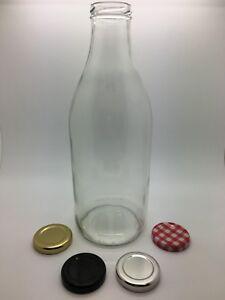 1Ltr Glass Milk Bottles (1000ml) Vintage, Retro, Juices, Flowers C/W 43mm lid