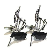 Silver Large Scottish Bagpipes Cufflinks Music Scotland Musical Cuff Links New